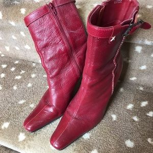 Red Leather Pazzo Heeled Bootie